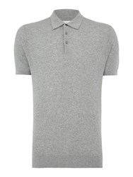 Peter Werth Men's Reader Textured Knitted Cotton Polo Silver Marl