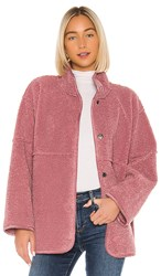 Velvet By Graham And Spencer Albany Lux Faux Sherpa Jacket In Pink. Dusty Rose