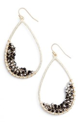 Panacea Women's Crystal Embellished Teardrop Earrings Black Gold