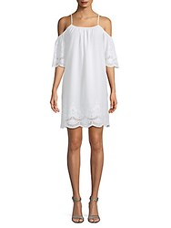 Saks Fifth Avenue Cold Shoulder Cotton Shift Dress White