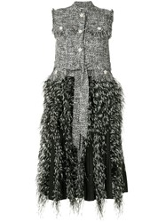 Huishan Zhang Tweed Fringed Sleeveless Coat Multicolour