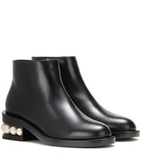 Nicholas Kirkwood Casati Embellished Leather Ankle Boots Black