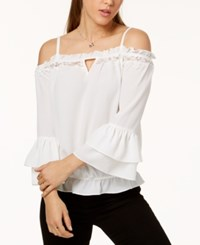Amy Byer Bcx Juniors' Ruffled Cold Shoulder Top Off White