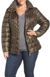 Bernardo Plus Size Women's Packable Jacket With Down And Primaloft Fill Deep Olive Chestnut