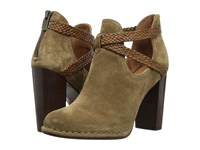 Frye Margaret Braid Shootie Cashew Soft Oiled Suede Smooth Full Grain Women's Boots Olive