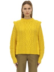 Etoile Isabel Marant Tyle Wool Cable Knit Sweater Yellow