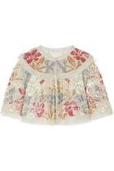 Needle And Thread Deconstructed Cropped Ruffled Sequin Embellished Tulle Jacket Mint