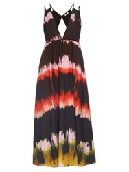 Tomas Maier Paint Stripe Cotton Poplin Dress Black Multi