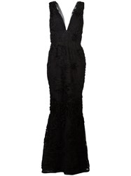 Marchesa Notte Embroidered Plunge Gown Black