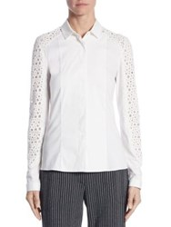 Akris Punto Lace Button Front Blouse Cream