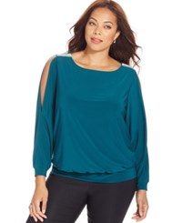 Msk Plus Size Embellished Cold Shoulder Blouse Emerald