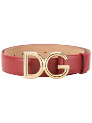 Dolce And Gabbana Branded Buckle Belt Red