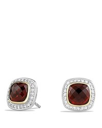David Yurman Albion Earrings With Garnet And Diamonds With 18K Gold Red Silver