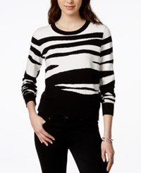 Bar Iii Zebra Print Jacquard Sweater Only At Macy's Black Combo