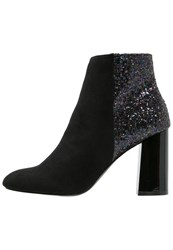 Head Over Heels By Dune Odessa High Heeled Ankle Boots Pewter Glitter Grey