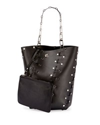 Proenza Schouler Hex Medium Studded Leather Bucket Bag Black
