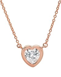 Crislu Heart Pendant Necklace 16 Rose Gold