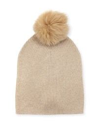 Neiman Marcus Cashmere Slouchy Fox Fur Pompom Hat Oatmeal