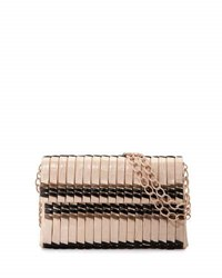 Nancy Gonzalez Bamboo Woven Crocodile Shoulder Bag Blush Black Taupe Blush Black Taupe