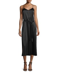 Halston Sleeveless Satin Cami Slip Dress Black