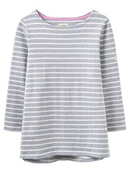 Joules Harbour Stripe 3 4 Sleeve Jersey Top Grey Marl White