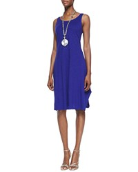 Eileen Fisher Organic Cotton Hemp Twist Sleeveless Dress Women's Blue Violet