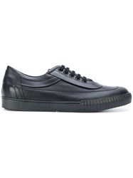 Marni Ridged Sole Low Top Sneakers Leather Straw Rubber Black