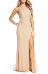La Femme Women's Beaded Column Gown