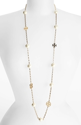 Tory Burch 'Evie' Extra Long Station Necklace Ivory Gold