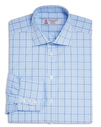 Turnbull And Asser Check With Windowpane Classic Fit Dress Shirt Blue