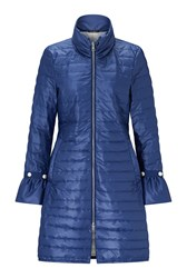 James Lakeland Pearl Detail Long Light Weight Puffa Coat Blue