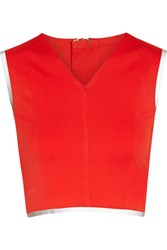 Theory Zeen Cropped Stretch Jersey Top Tomato Red