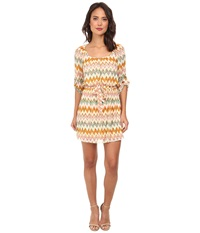 Gabriella Rocha Katie Chevron Chiffon Dress Ivory Coral Women's Dress Red