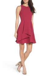Adelyn Rae Women's Athena Fit And Flare Dress Dark Magenta