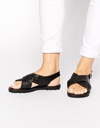 Truffle Collection Sybil Cross Strap Sling Sandals Blackpu