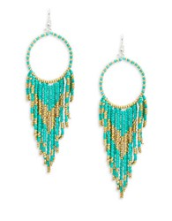 Cara Asymmetrical Fringe Drop Earrings Green