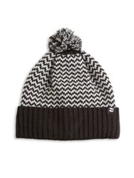 Hickey Freeman Herringbone Knit Cuff Pom Beanie Black Charcoal