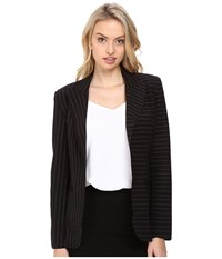 Norma Kamali Single Breasted Jacket Bonded Black Pinstripe Women's Coat