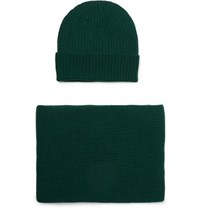 William Lockie Ribbed Cashmere Beanie And Scarf Set Emerald