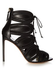 Francesco Russo Macrame Cutaway Leather Ankle Boots Black