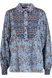 See By Chloe Floral Print Cotton Voile Shirt Blue