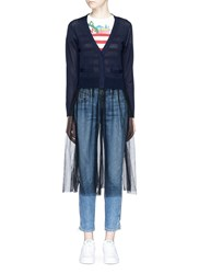 Muveil Extended Tulle Skirt Cardigan Blue