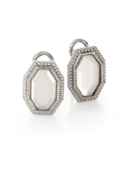 Judith Ripka Modern Deco Mother Of Pearl And Sterling Silver Octagon Doublet Earrings