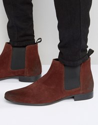 Asos Chelsea Boots In Burgundy Suede Burgundy Red