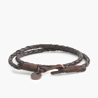 J.Crew Caputo And Co.Tm Braided Leather Double Wrap Bracelet Black Dark Brown