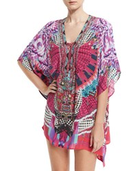 Camilla Embellished Lace Up Silk Caftan Coverup Desert Discotheque