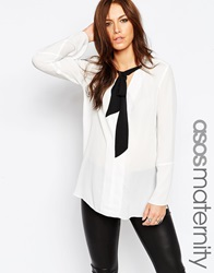 Asos Maternity Tie Neck Blouse With Long Sleeves Ivoryblack