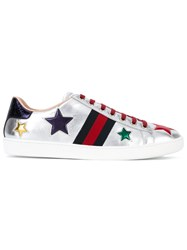Gucci Ace Star Embroidered Low Top Sneakers Women Calf Leather Leather Rubber 42 Metallic