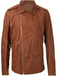 Rick Owens Cutaway Collar Biker Jacket Brown