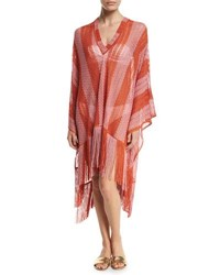 Missoni Mare Zigzag Stripe Long Tunic Coverup With Fringe Red Orange Pink Multi